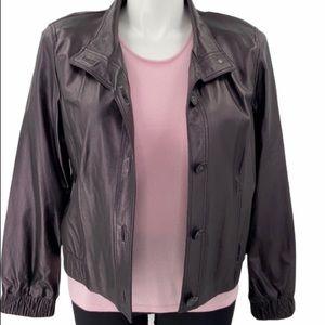 St. John lamb leather purple lightweight jacket